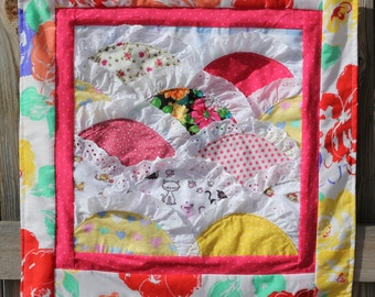 Lacy Pink and Yellow Quilted Wall Hanging