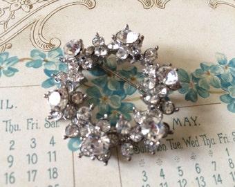 Vintage sparkle round rhinestone crystals dress brooch pin, crystals brooch, bridal jewelry, wedding brooch, rhinestones brooch