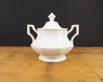 A Lovely Sugar Bowl With Lid - 'Johnson Brothers England' - Beading on Edge and Handle - White on White - Collect and Use - Mix and Match