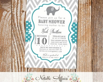 Gray and Teal Chevron and Polka Dots Elephant Baby Boy Baby Shower Invitation - colors can be changed