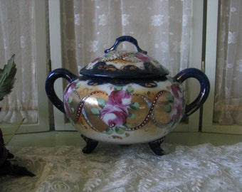 Antique 1920's  Hand Painted Cobalt Flow Blue Gilded Footed Sugar Bowl Pot
