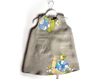 """Flower girl dress - Gray linen dress - Girl linen dress - Gray dress - painted dress  - Size by Height 36""""/92 cm- children summer clothing"""