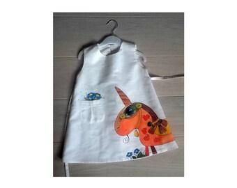 "Lace Linen Girl dress - vintage dress - Pony white linen dress - painted dress - Hand painted - Size by height 39""/98 cm- children clothing"