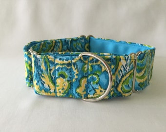 """1.5"""" Green/Yellow/Turquoise Paisley Watercolor Martingale Collar"""