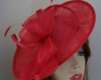 Fascinator Hat Poppy Red Saucer headpiece with Feathers on hairband, perfect for the Ascot races or a wedding