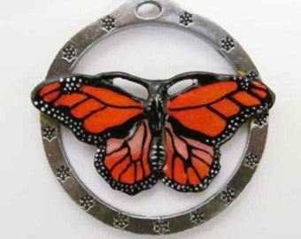 Painted ~ Monarch Butterfly ~ Holiday Ornament ~ AP040OR