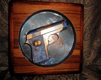 Space Blaster Small Ray Gun Wooden Plaque