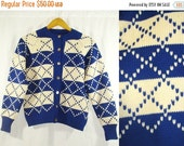 FLASH 75% OFF SALE Vtg 50s Handmade Button Up True Blue + Cream Country Checkered Winter Sweater