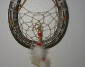 Horseshoe Dream Catcher with White/Rust Colored Chicken Feathers