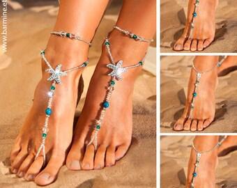 Wedding party set Rhinestone starfish barefoot sandals Something Blue Bride and bridesmaid feet jewelry Flower girl Made of honor