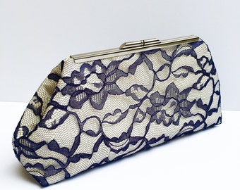 Navy Lace Clutch
