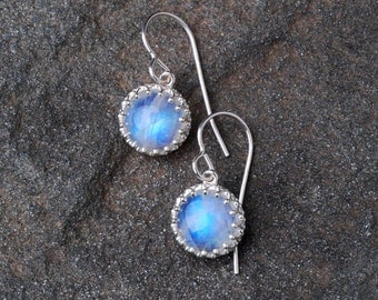 Rainbow Moonstone Sterling Silver Dangle Earrings- Rainbow Moonstone Jewelry- Silver And Gemstone Earrings- Cabochon Dangle Earrings