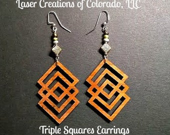 Wooden Jewelry, Triple Squares, Laser Engraved