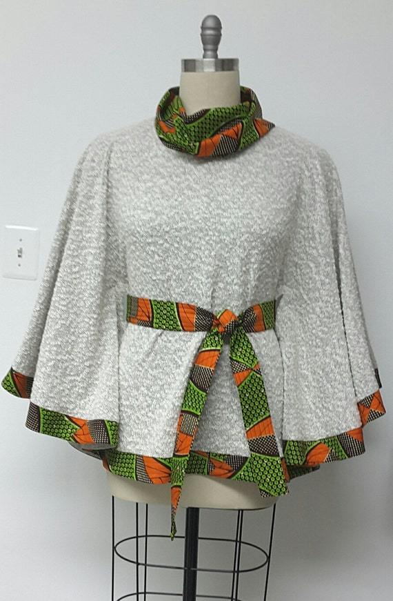 Cape Jacket Cowl Neck African Print Knit Boucle Poncho