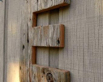 Unfinished Barn Wood Letter E / Cabin Decor/ Primitive Letter E / Reclaimed Wood Letter E / Farmhouse Letter
