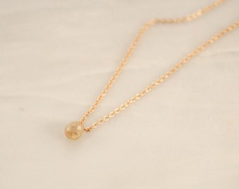 Solitaire Briolette Cut Champagne Diamond Necklace in 14K Yellow Gold