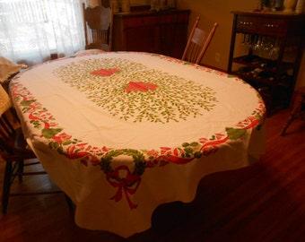 """80: x 62"""" Christmas Tablecloth"""