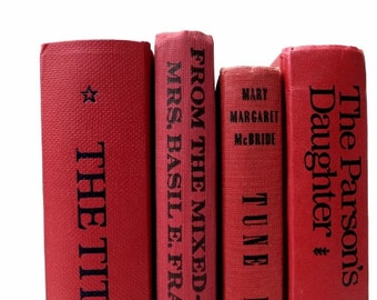 Bold Red Vintage Books/ Book Decor/ Decorative Books /Old Books/ Instant Library/ Home Decor /Wedding Decor/Photo Prop/ Rustic Cottage Decor