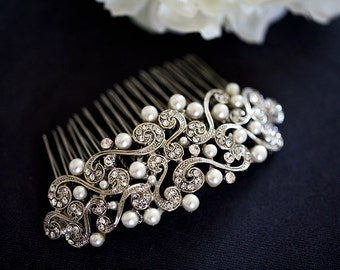 Large Art Nouveau Crystal Rhinestones Hair Comb - vintage inspired bridal hair comb - Wedding Headpiece