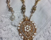 Repurposed Florenza Brooch Assemblage Necklace Gold Pearls Crystal White Stones Redesigned Orig Ornate Flower Pendant Bridal OOAK WishAnWear