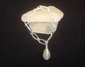 Sterling silver charm bracelet with Cape Cod beach stone charm