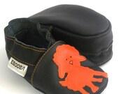 soft sole baby shoes handmade infant gift  lamb orange black 12-18m  ebooba 84-3
