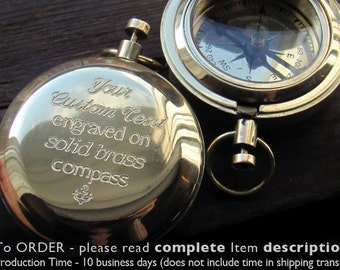 Engraved Compass, Long Distance Boyfriend Gift, Working Compass, Personalized Compass, Custom Compass Gift, Boyfriend Gift, GPS Coordinates
