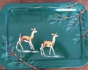 Vintage Metal Serving Tray Deer