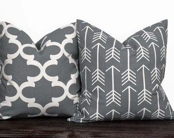 10 Sizes Available - Gray and White Arrow and Lattice Pillow Set - Neutral Pillow Covers - Grey and White - Trellis - Fynn - Moroccan