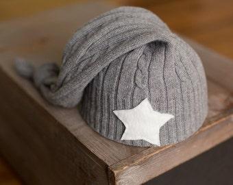 Ready to ship Upcycled Newborn Hat Gray Cable Knit Hat with Star Photography Prop