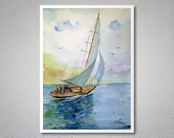 Sailing Watercolor Painting by Faruk Koksal - Print on 290 gr. Textured Fine Art Paper