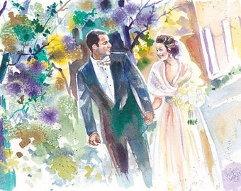 Wedding Anniversary Gift Watercolor Portrait: Custom Wedding Painting for Personalized Anniversary Gifts by Kristin Glaze van Lieshout