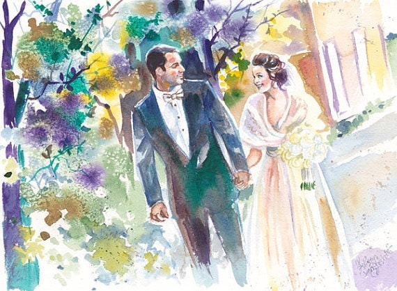 Painting Gift For Wedding : Wedding Anniversary Gift, Custom Wedding Watercolor Painting for ...