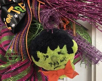 Whimsical Halloween Witch Mesh Wreath
