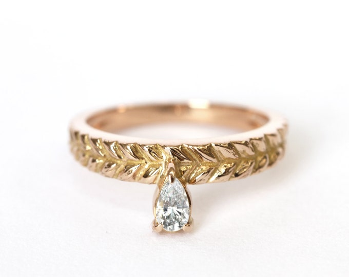 Ring gold braid - 18ct - rose gold - yellow gold - diamond - engagement ring - solitaire - claw setting - -conflict free diamonds
