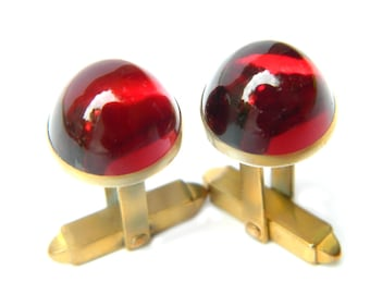 Red Glass Domed Cabochon Cufflinks 10K Gold Overlay Or GF Pat 1950711 Vintage Accessory For Men Formal Casual Gentleman's Suit And Tie
