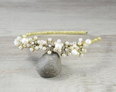 Gold Bridal Headpiece, bridal headband, bridal floral crown, bridal hair accessories, bohemian bridal headpiece, crystal Tiara, halo, boho