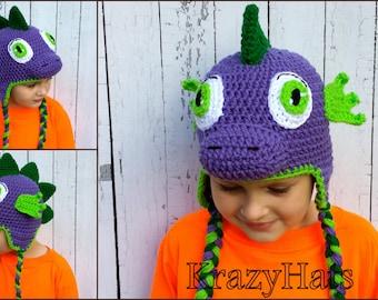 Crochet dragon hat.Purple dragon hat.