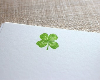 Flat Card Set with Letterpress 4-leaf Clover (vertical)