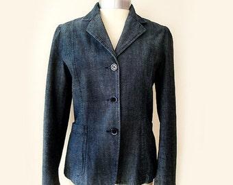 SALE Vintage Blue Jean Blazer,Italian Jean Jacket Women's Medium,80s denim jacket, hippie blue blazer.