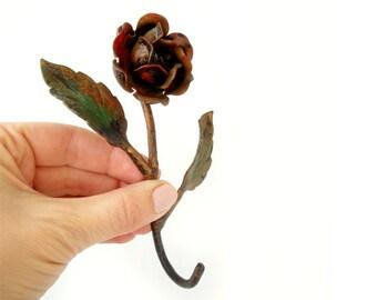 Vintage Rose flower hook hanger, metal painted Rose clothes hook, italian cottage chic home deco clothes hook