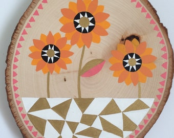 Sunflowers Wood Slice Painting