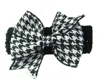 Houndstooth Headband, Baby Head Band with Houndstooth Hair Bow, Baby Hair Bow, Black White Bow, Toddler Headband, Baby Bow Headband