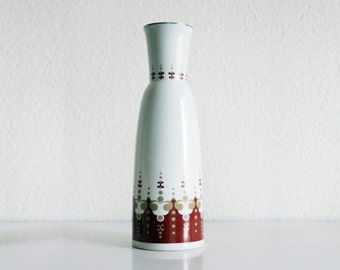 50s Ceramic Vase, White with Deep Red and Ocher Motives, Vintage Art Pottery German Vase, Nordic Design, Original Pottery, Collectibles