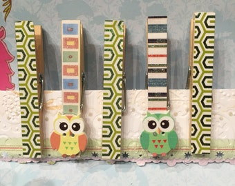 Owl, Wooden, 3-D, Magnet Clothespins, Pinch Clip, Thank you gift for Babyshower, House warming, Party Favors, Wedding