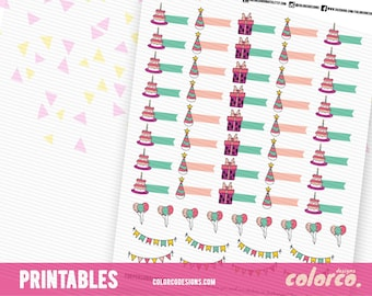 Cute Birthday stickers Printable Planner Stickers Erin Condren Happy Planner Inkwell Plum Paper Instant Digital Download