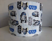 Blue*White*Grey Star Wars R2D2*Logo*The Force Awakens Fabric Drum Lampshade - 20cm & 30cm diameter