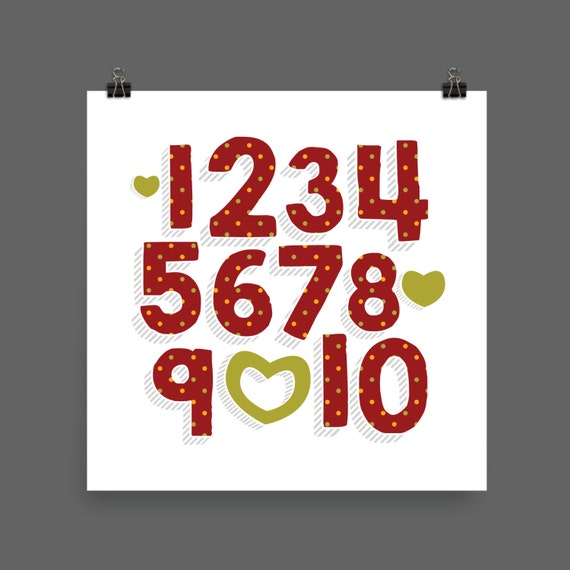 I LOVE YOU (Patterned - Cranberry Harvest) Numbers Poster Print - Nursery, Kids Room, Wall Art Modern