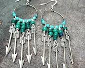 Arrow earrings, silver earrings, charm jewelry, turquoise jewelry, hoop earrings, boho jewelry, bohemian jewelry, unique earrings, gift