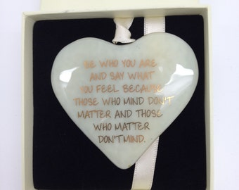 "Fused Glass Heart with 22 carat Gold Lettering ""Be Who You Are"" Can be Personalised"
